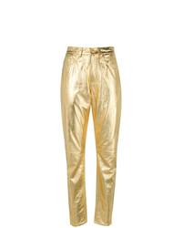 Pantalón de pinzas de cuero dorado de Philosophy di Lorenzo Serafini
