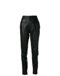 Pantalón de pinzas de cuero negro de Christopher Kane