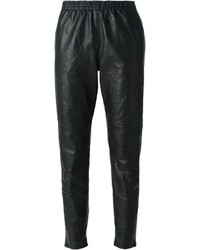Pantalón de pinzas de cuero negro de Forte Forte