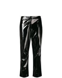 Pantalón de pinzas de cuero negro de Koché