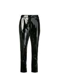 Pantalón de pinzas de cuero negro de MSGM