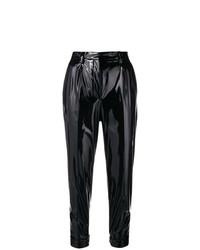 Pantalón de pinzas de cuero negro de N°21