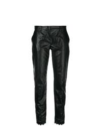 Pantalón de pinzas de cuero negro de Philosophy di Lorenzo Serafini