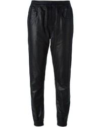 Pantalón de pinzas de cuero negro de R 13
