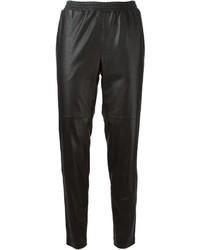 Pantalón de pinzas de cuero negro de Won Hundred