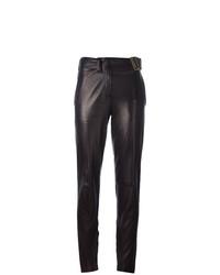 Pantalón de pinzas de cuero negro de Yves Saint Laurent Vintage