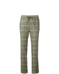 Pantalón de pinzas de tartán verde oliva
