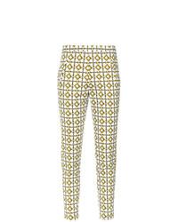 Pantalón de Pinzas Estampado Blanco de Andrea Marques