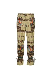 Pantalón de pinzas estampado marrón claro de Sacai