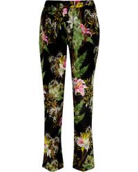 Pantalón de pinzas estampado verde oscuro
