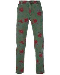 Pantalón de vestir con print de flores verde oscuro