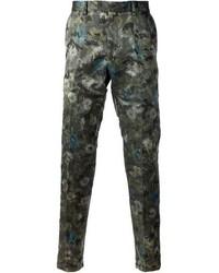 Pantalón de vestir con print de flores verde oscuro de Valentino