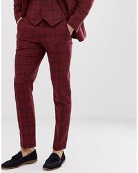 Pantalón de vestir de lana a cuadros burdeos