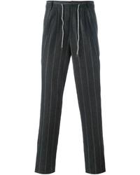 Pantalón de vestir de lana de rayas verticales en gris oscuro de Brunello Cucinelli