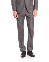 Pantalón de vestir de lana de rayas verticales gris