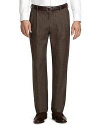 Pantalón de vestir de lana de tartán en marrón oscuro