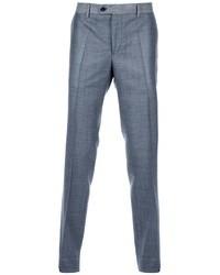 Pantalón de vestir de lana de tartán gris de Moschino