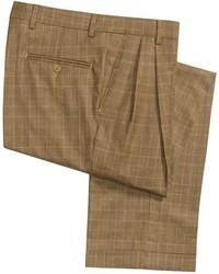 Pantalón de vestir de lana de tartán marrón