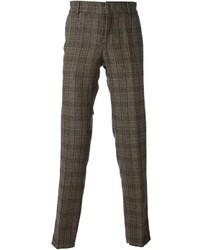 Pantalón de vestir de lana de tartán marrón de Stella Jean