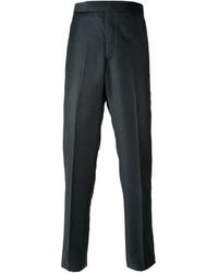 Pantalón de vestir de lana en gris oscuro de Thom Browne