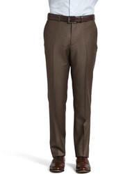 Pantalón de Vestir de Lana Marrón Oscuro