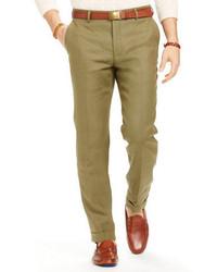 Pantalón de vestir de lino verde oliva