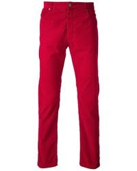 Pantalón de vestir de pana rojo