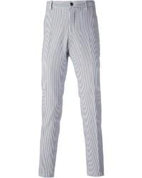 Pantalón de vestir de rayas verticales en blanco y azul de Etro