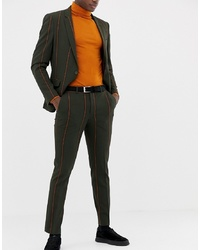 Pantalón de vestir de rayas verticales verde oscuro