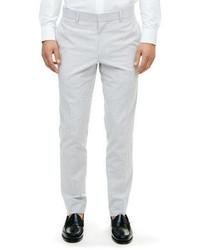 Pantalón de vestir de seersucker gris