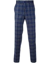 Pantalón de vestir de tartán azul marino de Alexander McQueen