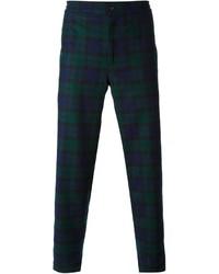 Pantalón de vestir de tartán en azul marino y verde de Golden Goose Deluxe Brand