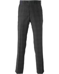 Pantalón de vestir de tartán en gris oscuro de Armani Collezioni