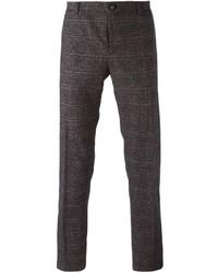 Pantalón de vestir de tartán en gris oscuro de Etro