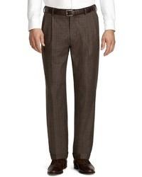 Pantalón de vestir de tartán en marrón oscuro