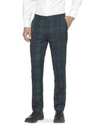 Pantalón de vestir de tartán verde oscuro