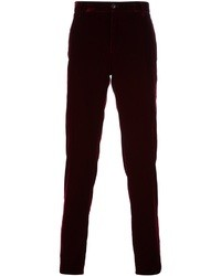 Pantalón de vestir de terciopelo rojo