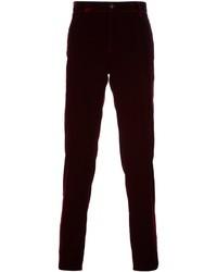 Pantalón de vestir de terciopelo rojo de Giorgio Armani