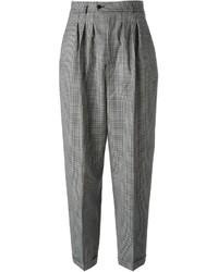 Pantalones anchos a cuadros en negro y blanco de Saint Laurent