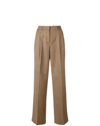 Pantalones anchos a cuadros marrón claro