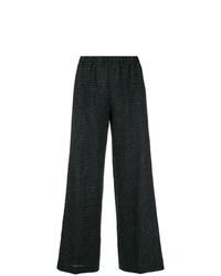 Pantalones anchos a cuadros negros de Aspesi