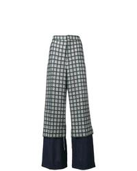 Pantalones anchos a cuadros verde oscuro de Marni