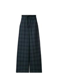 Pantalones anchos a cuadros verde oscuro de Mia-Iam