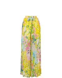 Pantalones anchos con print de flores amarillos de Boutique Moschino