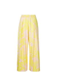 Pantalones anchos con print de flores amarillos de Layeur