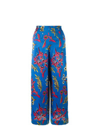 Pantalones anchos con print de flores azules de Etro