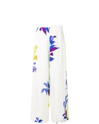 Pantalones anchos con print de flores blancos de Etro