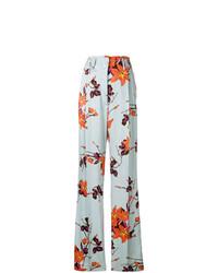 Pantalones anchos con print de flores celestes de Etro