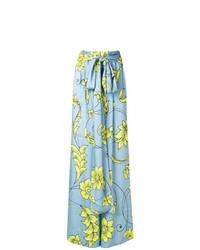 Pantalones anchos con print de flores celestes de Miahatami