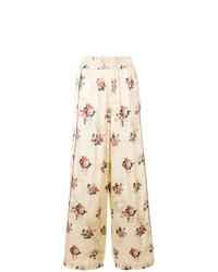 Pantalones anchos con print de flores en beige de Golden Goose Deluxe Brand